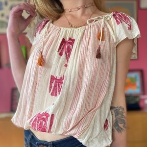 Free People Boho Embroidered Cutout Blouse